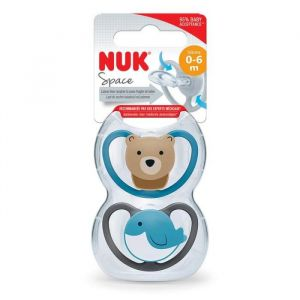 Nuk Lot 2 sucettes Space - Baleine / Ours - 0-6 mois
