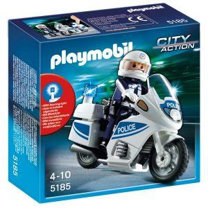 Playmobil 5185 - Motard de police avec lumière clignotante