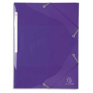 Exacompta Chemise 3 rabats et élastique IDERAMA en polypropylène 5/10e. Coloris violet