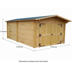 Foresta Vectura VE 3562 - Garage en bois 19,03 m2 (montage inclus)