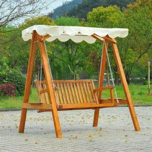 Homcom Balancelle balancoire hamac banc fauteuil de jardin bois de pin 2 places charge max. 300kg 03
