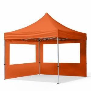 Intent24 Tente Pliante 3x3 m - 2 côtés Aluminium Barnum Chapiteau Pliant Tonnelle Stand Paddock Réception Abri orange .FR