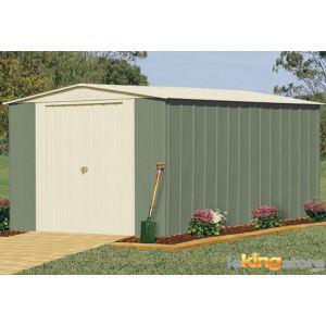 Treco Colorbond TRMGSC1013EX - Abri de jardin en métal 12,34 m2 + Kit d'ancrage