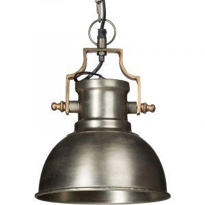 Relaxdays Lampe à suspension style industriel HxlxP 130 x 21 x 21 cm abat-jour forme de cloche métal luminaire, gris argenté