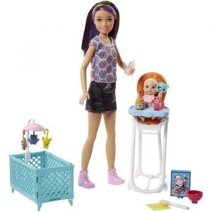 Mattel Poupée Barbie - Coffret Baby-sitter Skipper Chaise Haute