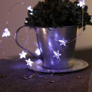 Guirlande micro LED étoiles sur piles