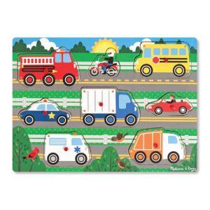 Melissa & Doug Puzzle en bois à boutons : 8 véhicules