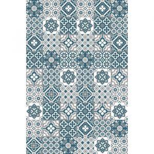 AMADORA Tapis 100% vinyle Imitation carreau de ciment 99 x 150 cm Epaisseur 1,5 mm Bleu, blanc et gris