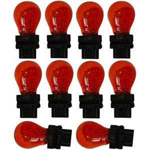 Aerzetix : 10x Ampoule 12V 3157 W2.5x16Q P27/7W Orange Ambré