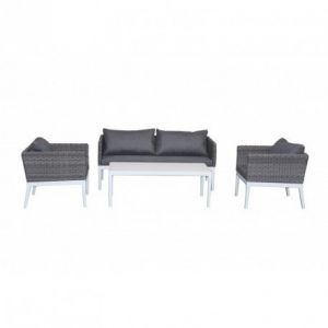 Delorm Design CAP-FERRET - Salon de jardin 4 places Blanc/Gris