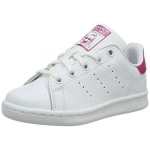 Adidas Stan Smith - Chaussures - Mixte Enfant - Blanc (Footwear White/Footwear White/Bold Pink 0) - 29 EU