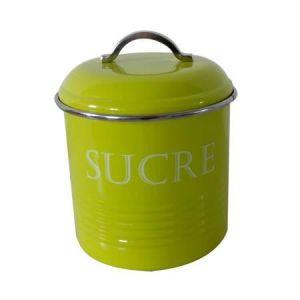 Frandis Boîte a sucre en inox - Ronde -13 x 16,5 cm - Vert - Ronde - Inox - Vert - Assure une bonne conservation - Dimensions : Ø 13 x 16,5 cm