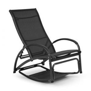 Blumfeldt Beverly Wood Chaise longue à bascule bain de soleil aluminium noir