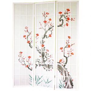Pegane Paravent bois blanc avec fleurs de cerisier - 3 pans -