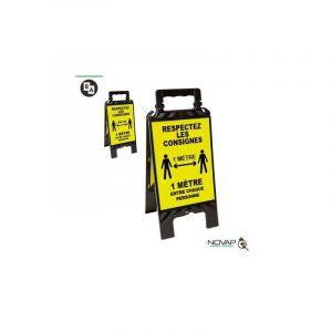 Novap Chevalet noir et jaune - Respectez les consignes de sécurité - 608 x 272 mm