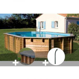 Sunbay Kit piscine bois Vermela 6,72 x 4,72 x 1,46 m + Bâche hiver + Douche
