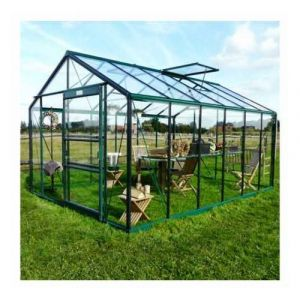ACD Serre de jardin en verre trempé Royal 36 - 13,69 m², Couleur Noir, Filet ombrage oui, Ouverture auto 1, Porte moustiquaire Non - longueur : 4m46