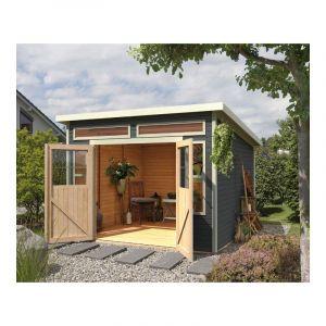Karibu Abri toit plat 9,24m² en bois vitrifié gris 19mm Tinkenau 8