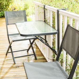 Table de balcon pliante en acier 50 x 90 cm