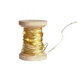 Bobine guirlande dorée 60 LED blanches (6m)