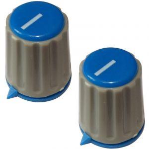 Aerzetix 2 boutons de potentiomètre pour axe moleté 6mm Ø15,3x18mm. Couleur gris/bleu