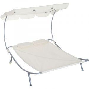Outsunny Bain de soleil 2 places lit de jardin design contemporain toit réglable 2 roulettes 2 oreillers acier époxy polyester crème