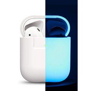 Elago Étui Phosphorescent Compatible avec Apple AirPods 1 & 2 (Témoin LED Visible) [Chargement sans Fil Fonctionne] en Silicone Non-Toxique Anti-Rayures - Bleu Phosphorescent (, neuf)