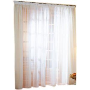 LINDER Voilage baie vitrée avec lin à galon fronceur plombé blanc 300x240 cm Multicolore Absolument Maison