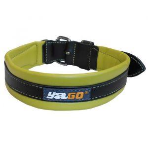 YAGO Collier en cuir - Taille L 43-52 cm - Noir et vert - Pour grand chien