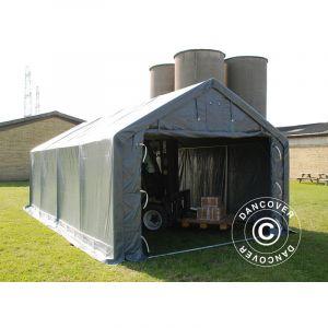 Tente de Stockage Tente Abri PRO 3x8x2x2,82m, PVC, Gris DANCOVER