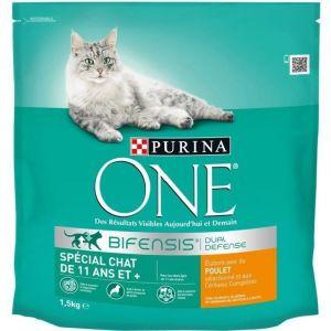 Purina One - Croquettes spéciales chat +11 ans au poulet & céréales complètes 1,5 kg (Lot de 6)