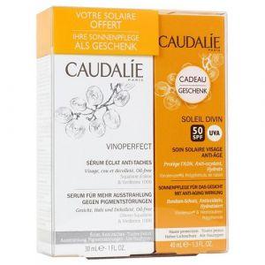 Caudalie Vinoperfect - Coffret sérum éclat anti-taches et soin solaire visage anti-âge SPF30