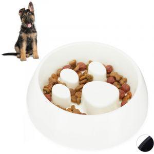 Relaxdays Gamelle Anti glouton, chien manger lentement bol croquette eau chat, aliment digestion lente, blanc
