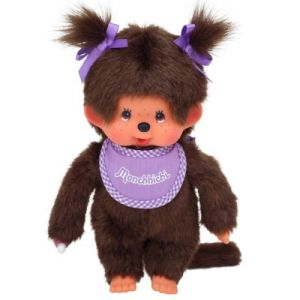 Bandai Peluche Monchhichi fille violette avec tresses 20 cm