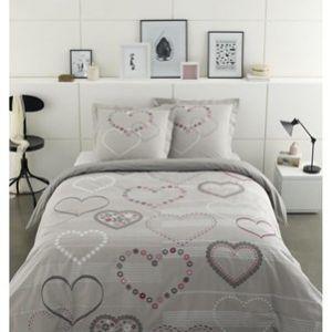 Vision Valentine - Housse de couette et 2 taies 100% coton 57 fils (220 x 240 cm)