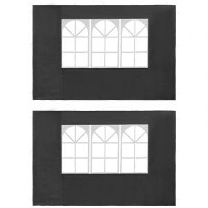 VidaXL Paroi de tente de réception 2 pcs avec fenêtre PE Anthracite