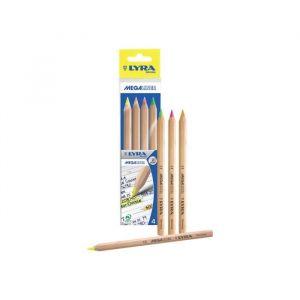 Lyra Megaliner Crayon de couleur orange fluorescent, jaune fluorescent, vert fluorescent, rose fluorescent 6.25 mm extra épais…