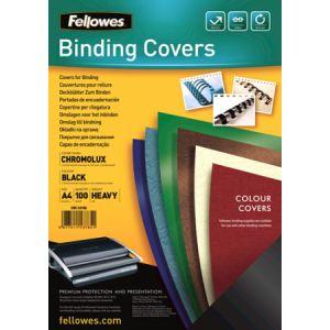 Fellowes 5378504 - Boîte de 100 couvertures à relier Chromolux, A4, coloris noir