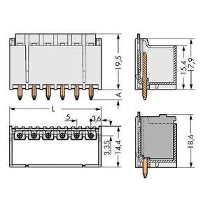 Wago 2092-1410 - Connecteur mâle gris clair 100 pc(s)