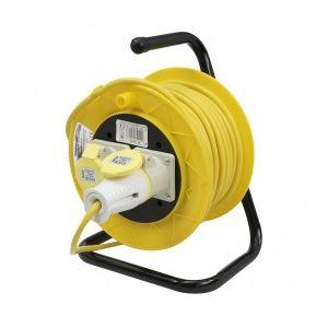 Image de Silverline 868878 - Enrouleur-dévidoir de câble 110 V sur pied - 16A 25m 2 prises