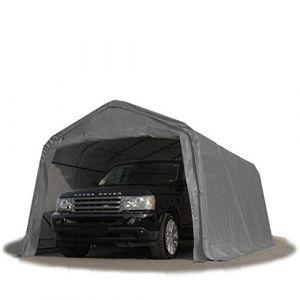 Intent24 Tente-garage carport 3,3 x 6,0m d'élevage abri agricole tente de stockage bâche 550g/m² armature solide gris.FR