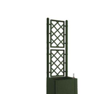 Stefanplast Bac à fleurs carré Natural Delux avec treillis - 43 x 43 x 142 cm - Vert pin