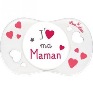 """Luc et Léa Sucette symétrique silicone """"J'aime ma maman"""" 0-6 mois"""