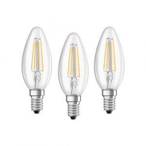 Osram Lot de 3 Ampoules LED E14 flamme claire 4 W équivalent a 40 W blanc froid - Culot : E14 - Puissance : 4 W - Equivalence : 40 W - Flux lumineux : 470 Lm.