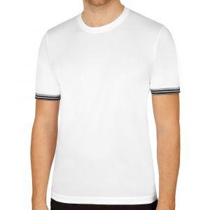 Wilson Homme T-Shirt de Tennis à Manches Courtes, M TEAM SOLID CREW, Polyester, Blanc/Noir, Taille S, WRA765301