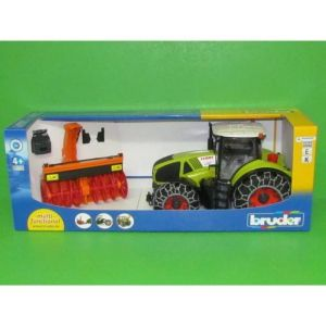 Bruder Toys 03017 - Tracteur Claas Axion 950 Avec Chaines Et Souffleuse A Neige - Vert