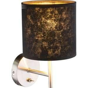 Globo Lighting Applique nickel mat - H 19 cm - Abat-jour noir et doré - Applique nickel mat - Tissu noir doré - Interrupteur - Hauteur 19 cm