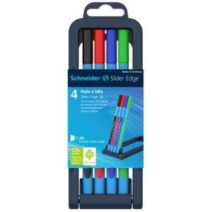 Schneider Electric 152270 - Etui chevalet de 4 stylo-billes Slider Edge, pointe XB, encres assorties