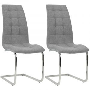 VidaXL Chaise de salle à manger 2 pcs Tissu 42,5x61x104,5cm Gris clair