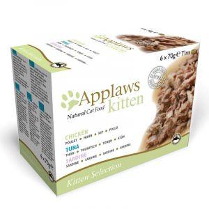Applaws Kitten 6 x 70 g pour chaton - lot mixte (sardine, poulet, thon)